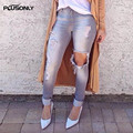 Hole Denim Jeans Women 2017 New Style Plus Size Casual Slim Bleached Pencil Pants Ripped Jeans Gray TS55