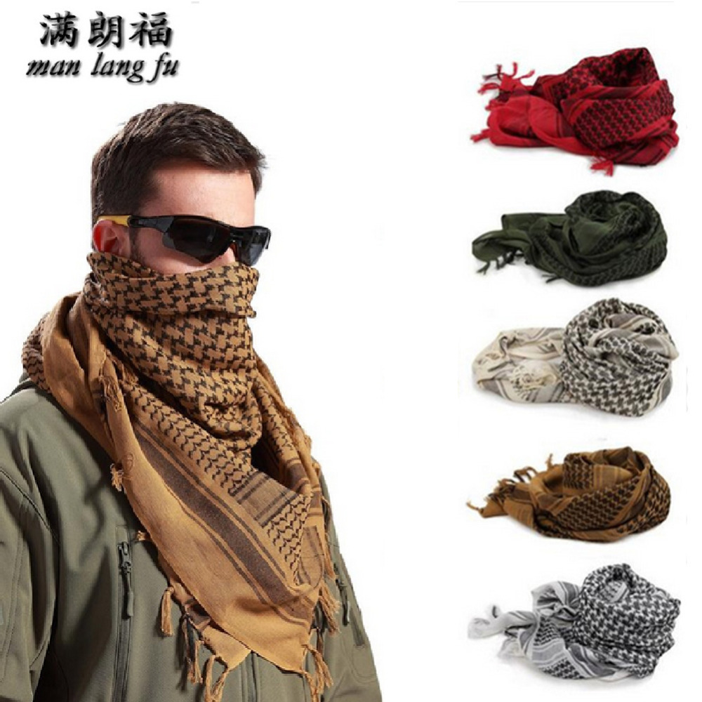 2018New Army Military Tactical Keffiyeh Shemagh Desert Arab Scarf Shawl Neck Cover Head Wrap Hiking Airsoft Shooting Accessories