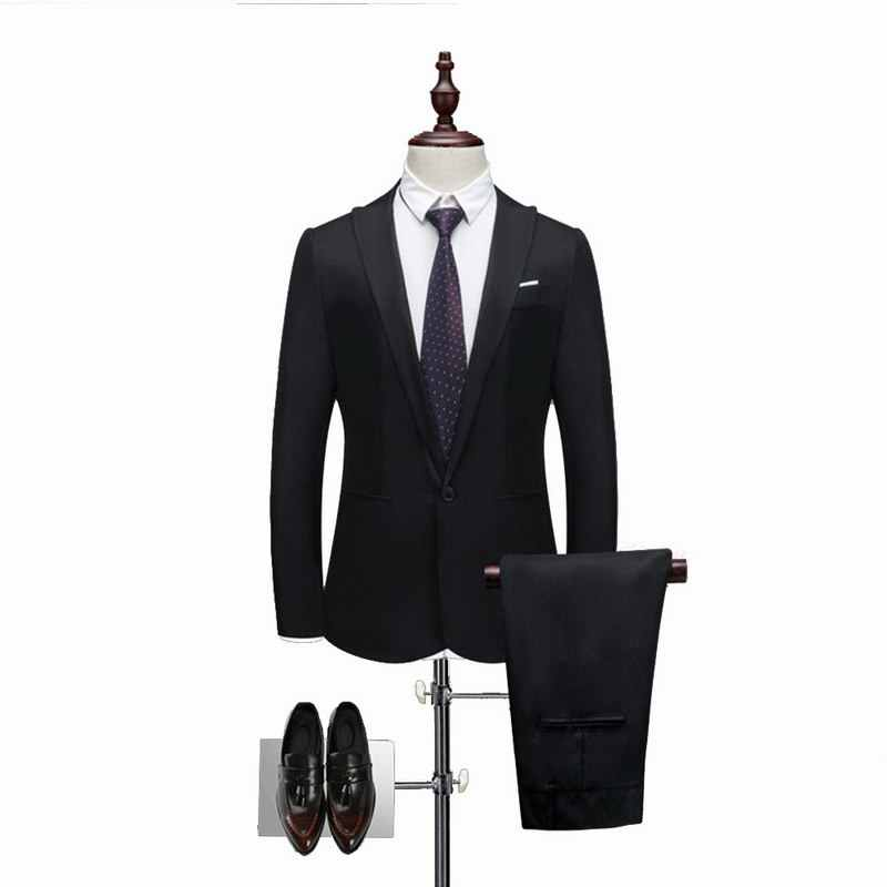 c82f1daf8 2 Pieces Brand Men Suit Fashion Solid Suit 2019 Casual Slim Fit Mens  Bussiness Wedding Suits Male Jacket Coat Pant Plus Size 3XL