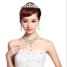 Women Rhinestone Jewelry Sets Pendant Necklace Earrings High Grade Bride Fashion Queen Wedding Dress Accessories Perimeter 50cm