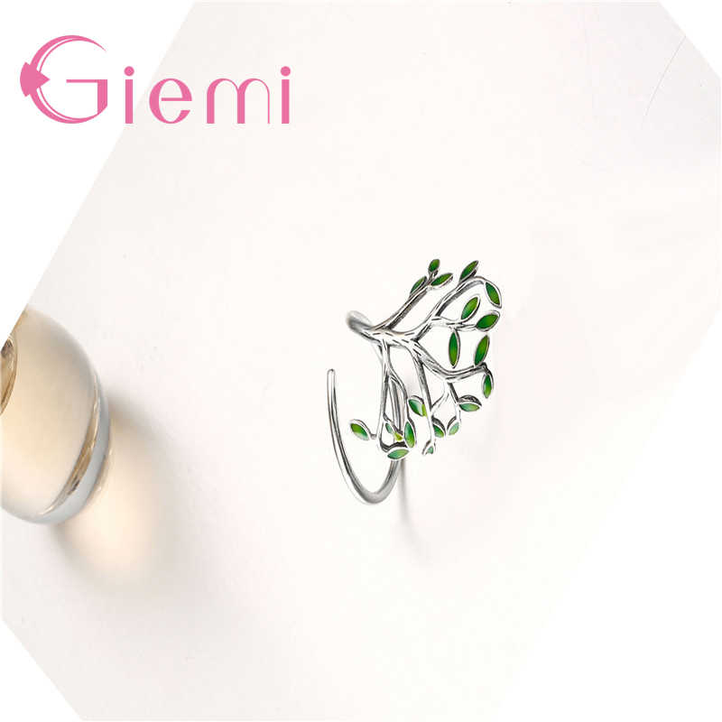 אמיתי 925 סטרלינג כסף ירוק עץ עלים צורת פתיחת אצבע טבעות 2 צבע עבור נשים גברים קריסטל תכשיטי מתנה