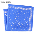 Smith a medida Pura Seda Natural Diseñador Polka Dot Pañuelo Pañuelo Cuadrado de pañuelo de Moda Azul Negro de Lujo Para Hombre Accesorios