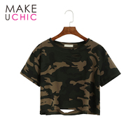 MAKEUCHIC Apparel Women T Shirt Casual Camouflage Crew Neck Female Crop Tops Streetwear Shaping Hollow Out