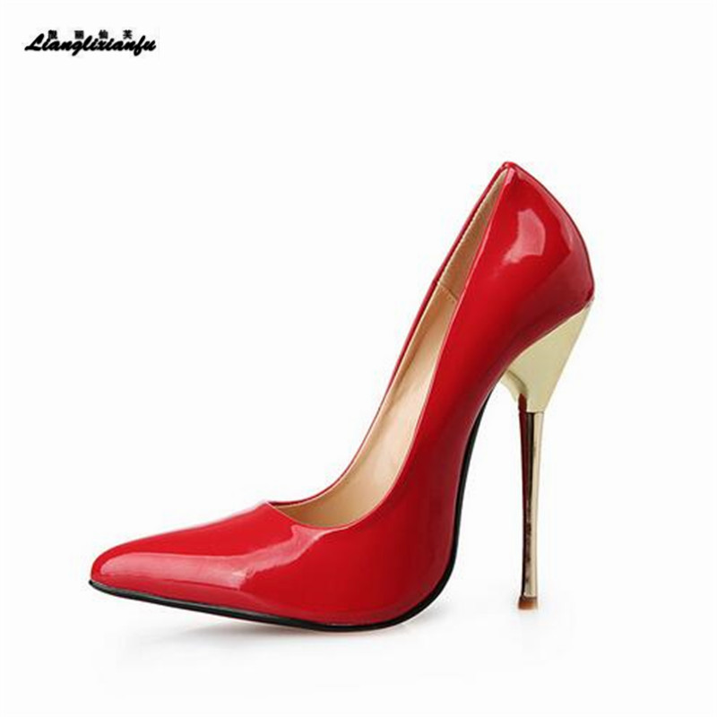 LLXF Plus:45 46 47 48 49 zapatos mujer 14cm Metal thin heels women's Red dress shoes Pantent Leather Pointed Toe Cosplay pumps cosplay red