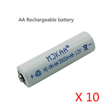 10pcs 1.2V Ni-MH AA 3000mAh Rechargeable Batteries 2A Neutral Battery Rechargeable Battery AA Batteries