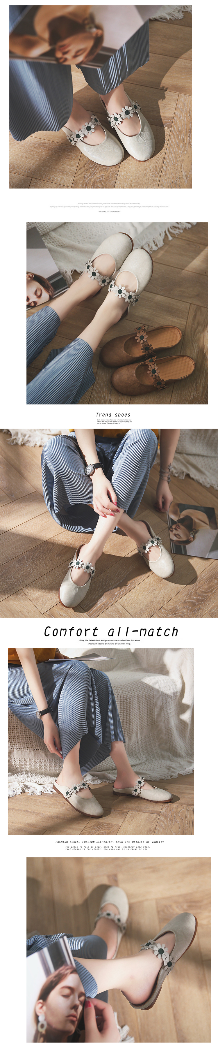 Women's Summer Shoes Baotou 2018 Summer Flower Sexy Sweet Comfortable, Casual Flat Bottomed Women's Leather Shoes6.15 6