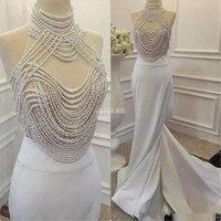 Robe De Soiree 2017 Evening Dress White Beaded Prom Dresses Long Celebrity Dress Vestido De Festa