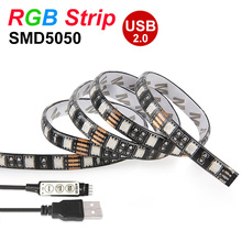 DIY USB LED Strip 5050 IP65 RGB LED Strip Light DC5V Flexible LED Lights Tape 50CM 1M 2M For TV Background Lighting Decoration