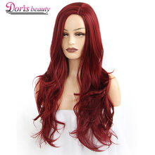 Doris beauty Synthetic Long Wavy Wig Side Part Cosplay Red Hair for Women Black Pink Wave Ladies Natural Heat Resistant Fiber(China)