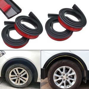 Image 1 - 4 adet 4.9ft siyah evrensel araba çamurluk genişletici tekerlek kaş şekillendirici aksesuarları kalıplama koruyucu dudak Anti Scratch Arch Trim