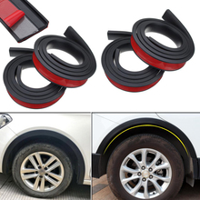 4PCS 4.9ft Black Universal Car Fender Flares Wheel Eyebrow Styling Accessories Moulding Protector Lip Anti Scratch Arch Trim