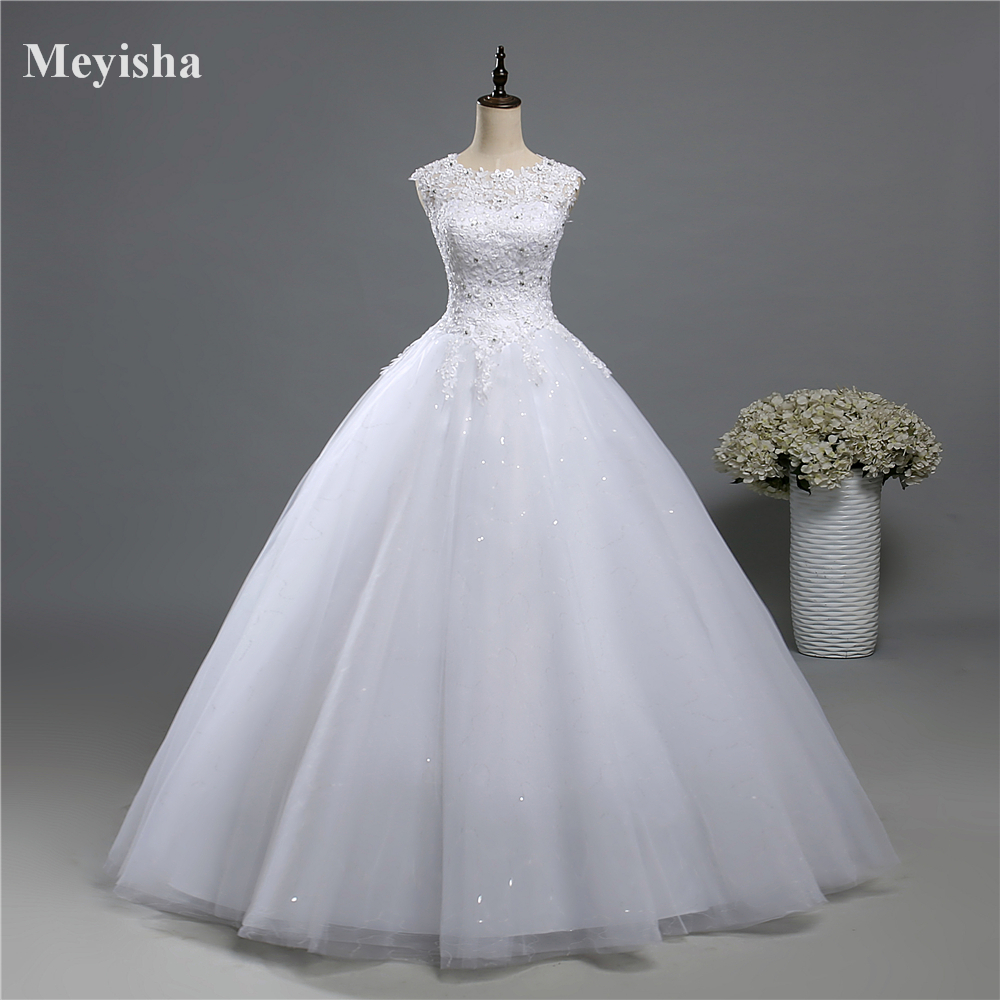 ZJ9139 2017 Sequins Tulle Lace White Ivory Formal Crystal Beads Bridal Dress Dresses Wedding Prom Gown Plus Size 6 8 10 12-26W