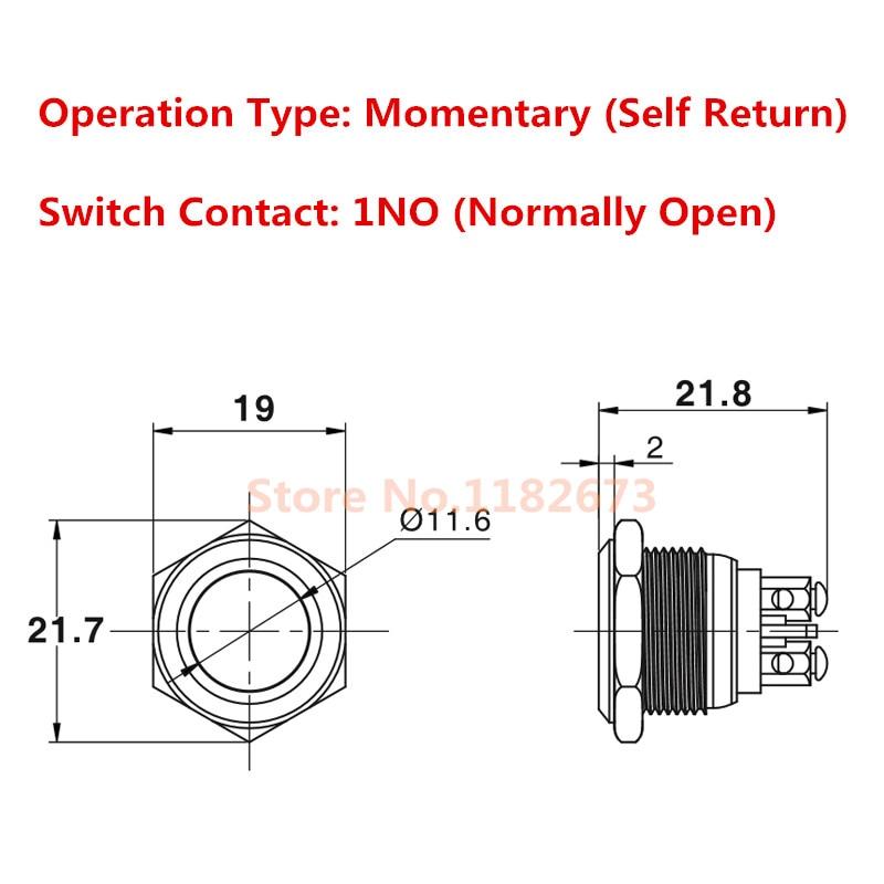 250VAC 16mm Anti-Vandal Momentary Steel Metal Push Button Switch Flat Top 3A