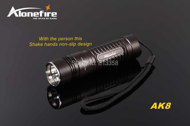 AloneFire AK8 CREE XM-L2 LED 3 mode HA III Militaire kwaliteit hard geanodiseerd mini lichtgewicht zaklamp zaklamp Voor 18650 batterij