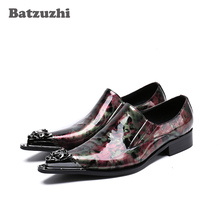 Batzuzhi New Arrival Men Shoes Pointed Iron Toe Genuine Leather Men Shoes Print Leather Business Dress Shoes Party and Wedding northmarch new brand genuine leather men oxfod shoes lace up casual business wedding shoes men pointed toe comfort shoes