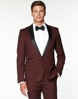 Groomsmen Notch Black Lapel Groom Tuxedos Burgundy/Wine Men Suits Wedding Best Man (Jacket+Pants+Tie+Hankerchief) B911