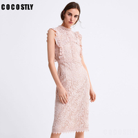 Vestidos Lace Dress Elegant Pink Women Hollow Out Slim Prom Office Party Dresses Summer 2019 Casual Long Dress