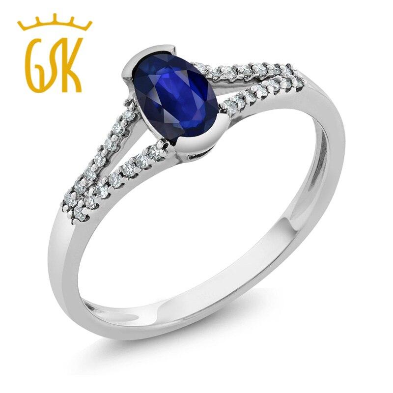 Gemstoneking 0.45 КТ овальной Природный синий сапфир и кольцо с бриллиантом Твердые 10 К белого золота Обручальные кольца для Для женщин