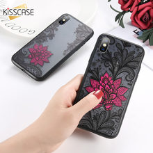 KISSCASE étui pour iphone 7 8 6 S 6 Plus 6 S Plus 6 3D en relief noir rouge Rose fleur étui pour iphone 5 S 5 Se 7 Plus Capinhas Capa(China)