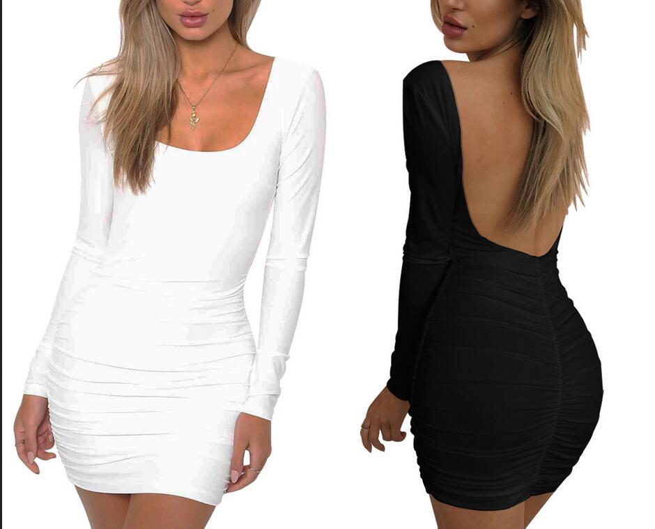 2019 Women Spring Autumn Bandage Dress Women Slim O-neck Long Sleeve Slim Elastic Bodycon Party Dresses Vestidos