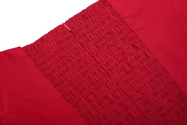 New Women Dress Robe Vintage Short Sleeve Off Shoulder Red Color Dress Jurken 1950s 60s Retro Rockbilly Swing Party Dresses