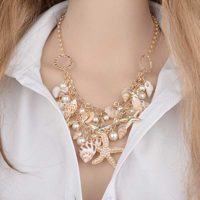 Sea Shell Starfish Faux Pearl Collar Bib Statement Chunky Necklace Pendant Women Trendy Shell Charm