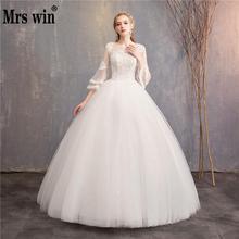 Винтажное свадебное платье es Новое дешевое свадебное платье Mrs Win с широкими расклешенными рукавами и кружевной вышивкой принцессы Vestido De Noiva F