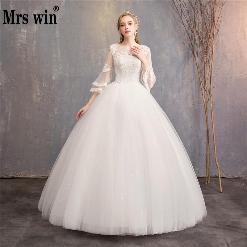 Vintage Wedding Dresses 2020 New Cheap Wedding Dress Mrs Win Full Flare Sleeve Lace Embroidery Princess Vestido De Noiva F