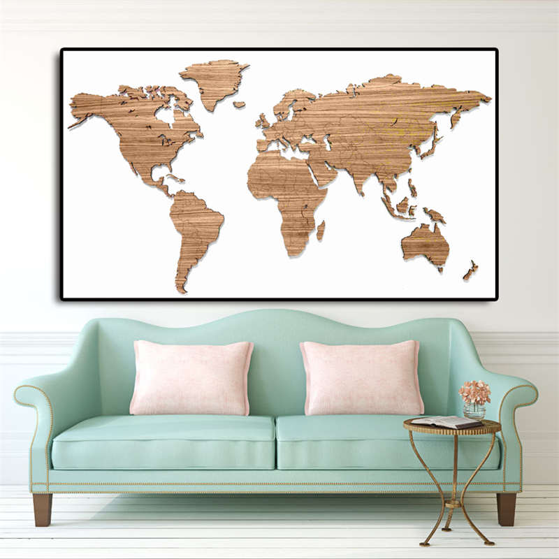 Wooden Map Of The World Motivational Wall Art Canvas Minimalist Nordic Posters Prints  Painting Wall Pictures Bedroom Home Decor