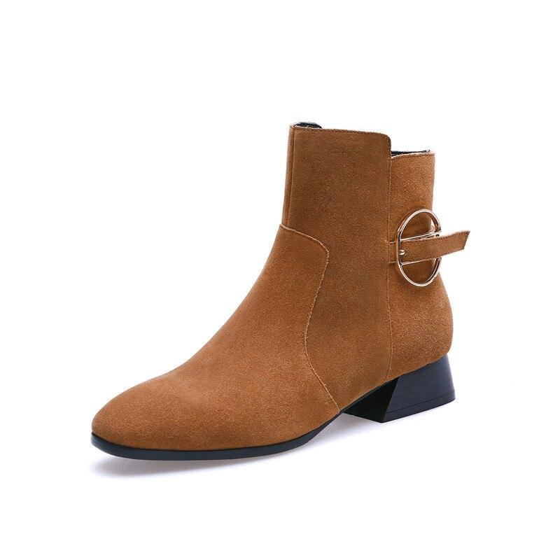 Smirnova Bottes caramel Chaussures Dames Suédé Automne À Talons Color Zipper Mode Vache Noir Haute En Noir Bas Cuir Femme Cheville Hiver 2018 qt4Rtr