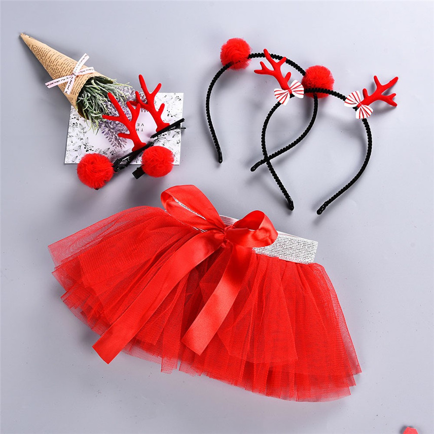 Hair Hoop Set LuckyBB Baby Girl Christmas Outfit Christmas Custome Baby Girls Kids Christmas Tutu Ballet Skirts Fancy Party Skirt