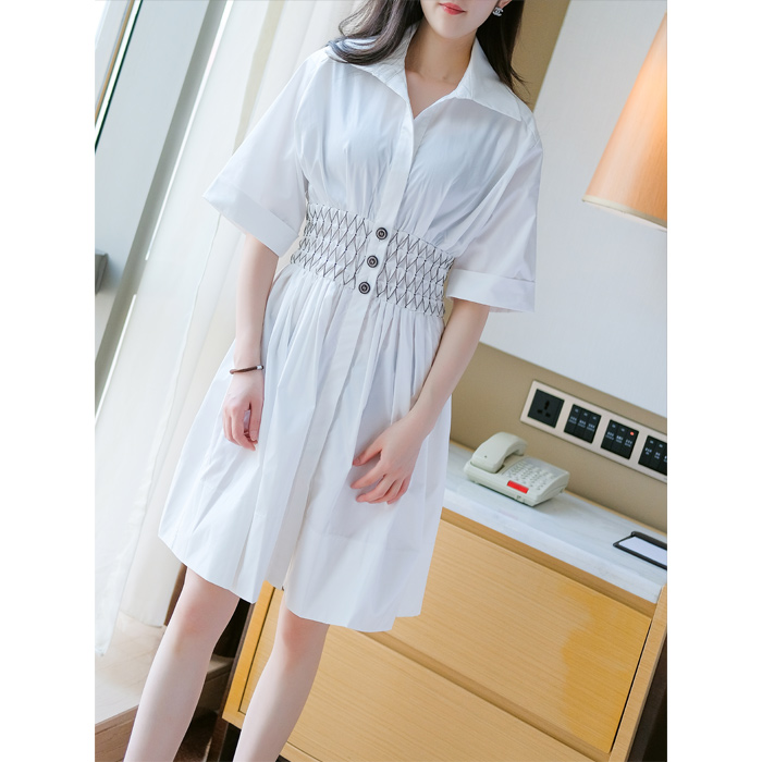 2019 Summer Runway Women s Short Sleeve Slim Waist A Line White Shirt Dress