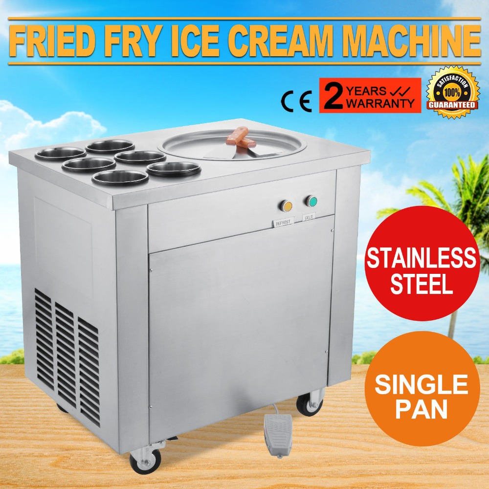 Commercial Ice Roll Maker 740W Fried Yogurt Cream Machine Perfect for Bars/Cafes/Dessert Shops