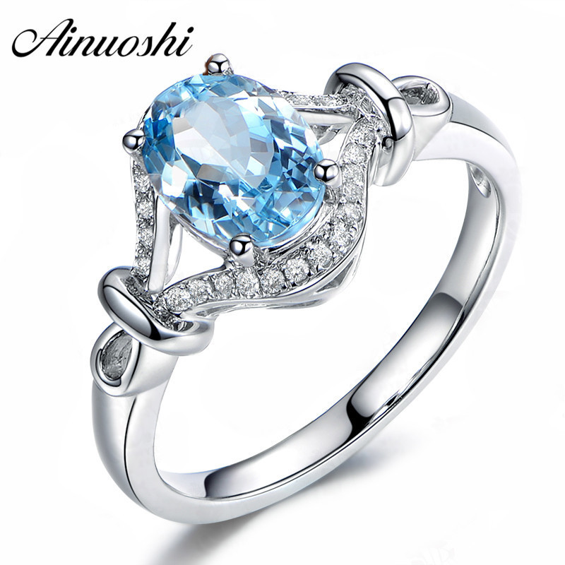 AINUOSHI 1.5 Carat Oval Cut Topza Cross Ring Pure 925 Sterling Silver Natural Sky Blue Topaz Weave Ring Fine Jewelry For Woman