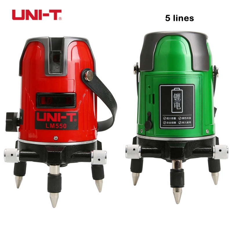 UNI-T LM550 красный луч линии лазерный уровень LM550G зеленая линия лазерный уровень 5 линии 3 очка 360 наливные инструмент уровня