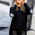 2017 Новые Моды для Женщин Дамы Повседневная С Длинным Рукавом Лоскутная Crewneck Свободные Рубашки поло