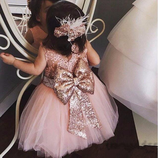 New cute mid-calf pink sheer lace back toddler flower girl dress kids beauty evening prom ball gowns baby birthday party frocks sheer lace plus size vintage party short prom dress