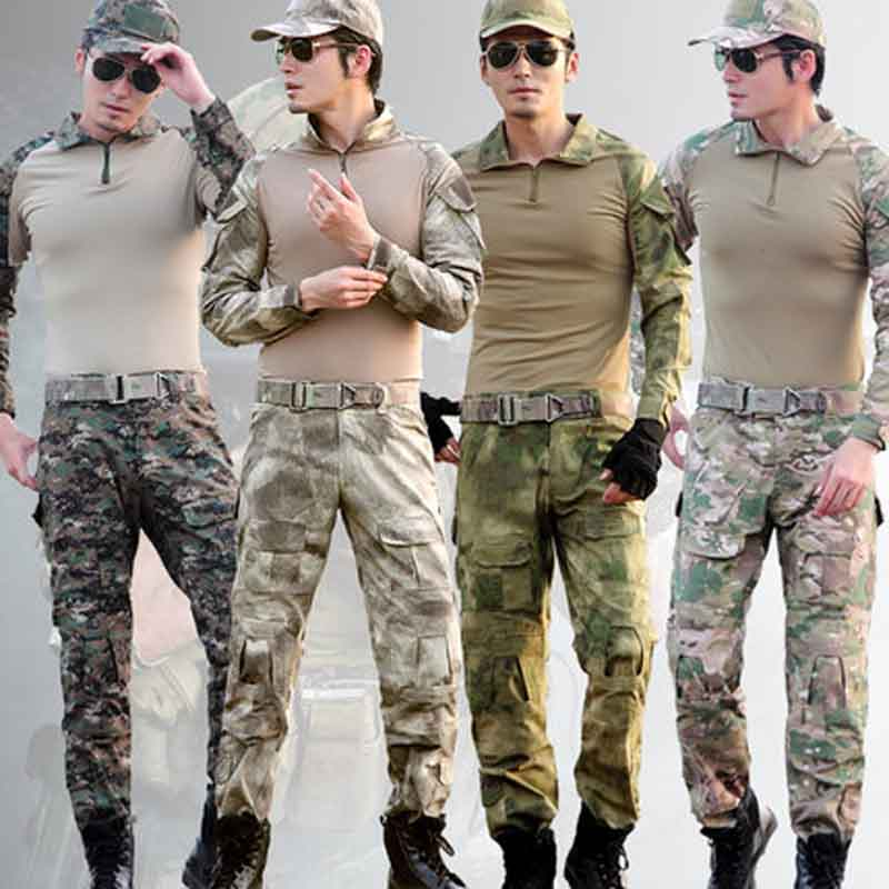 Novel Design Tactical Frog Suits Military Airsoft Uniform Army Combat Camouflage Set Shirts & Pants With 4 Piece Elbow Knee Pads tactical airsoft paintball combat pants with knee pads soldier trainer outdoor sport survival field game trouser free shipping