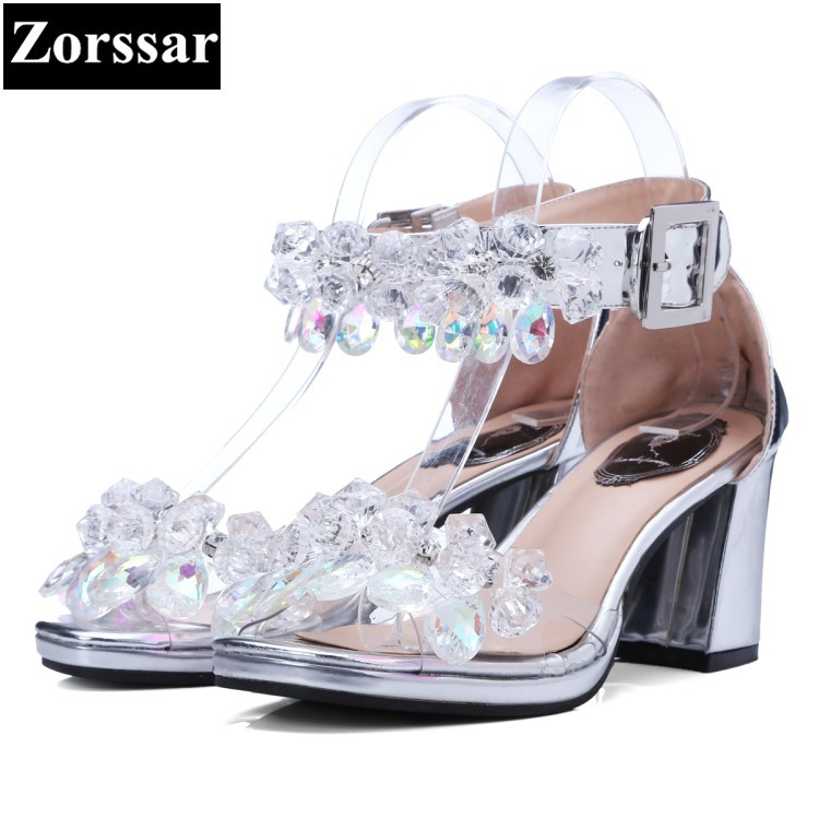 Summer Womens Shoes rhinestone high heel sandals women Wedding shoes 2017 fashion thick heel woman ankle strap shoes high heels fashion women ankle strap shoes pumps shoes womens rhinestone high heel sandals red blue 2017 new arrival woman summer shoes