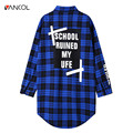 Vancol Fashion Women Plaid Shirt Long Sleeve Women Blouses Shirt Womens One Size Print Letter Cotton Blusas Tops Blouse