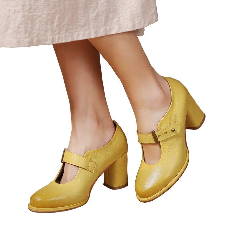 2018 VALLU Women Pumps Genuine Leather High Heel Shoes Sheepskin Block Heels Buckle Handmade Vintage Ladies Shoes цена