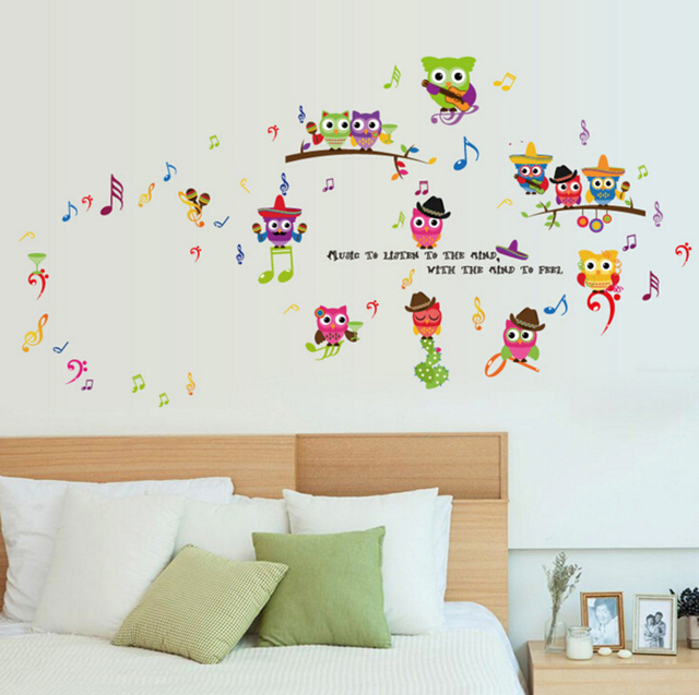 Cute Music Owl Wall Stickers Kids Room School Kindergarten Decor Diy  Posters Wall Decals Removable Wallpaper