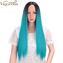 Vigorous Ombre Blue Straight Long Synthetic Wigs for Women Mixed Brown and Blonde Wig 24 Inch Middle Part Cosplay Party Wig стоимость