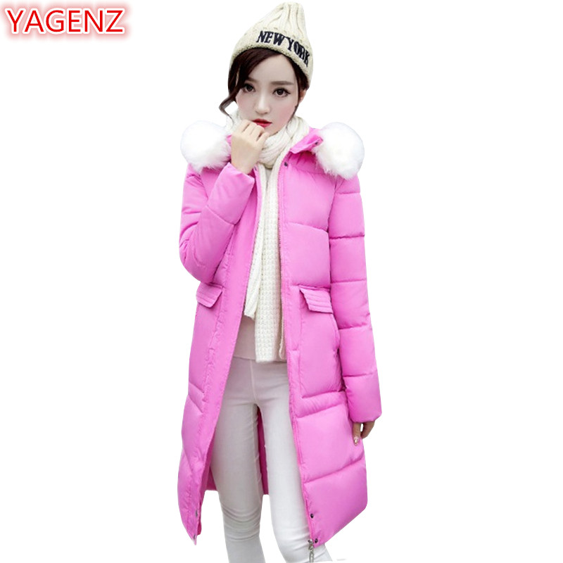 YAGENZ Women Pink Cotton Jacket Long section New product Winter Women's clothing Large size Fur collar Hooded Keep warm Coat 625 2017 new winter women winter women in the long section of thick cotton coat fur collar jacket cold winter jacket size m xxl