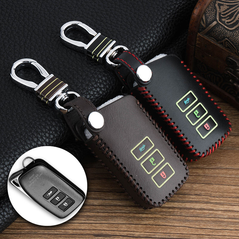 Real leather 3 buttons Smart Remote Car keychain Leather Key Cover Case shell For LEXUS RX200t IS CT GS nx200 es250 es300h