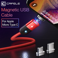 CAFELE LED Magnetic cable for iphone Samsung Huawei Xiaomi Data Sync USB Cable IOS Micro type c usb port 2A charger cables