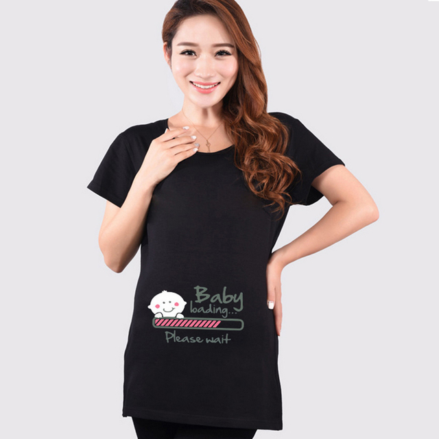 2016 Summer Funny Maternity Shirts Baby Loading T Shirt Pregnant Women Tops Tees Clothes Premama Wear Clothing Pregnancy T Shirt