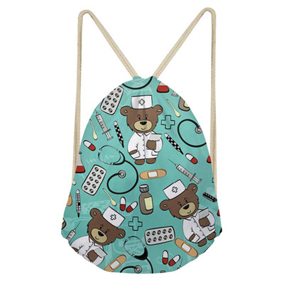 Noisydesigns Cute School Girls Drawstring Bag Cartoon Nurse Bear Print Women Small String Shoulder Bags Kids Nursing Storage Bag