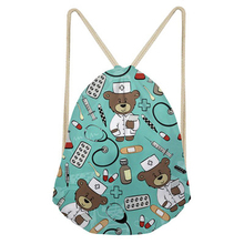 Noisydesigns Cute School Girls Drawstring Bag Cartoon Nurse Bear Print Women Small String Shoulder Bags Kids Nursing Storage Bag