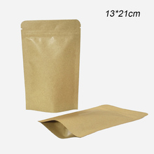 50pcs/lot Stand Up Kraft Paper Package Bag with Zipper Zip Lock Mylar Foil Pouch for Tea Coffee Kitchen Storage 13x21cm